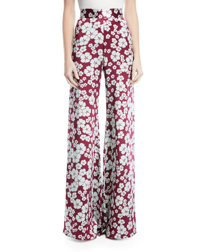 Nesta High-Waist Wide-Leg Floral-Print Silk Pants