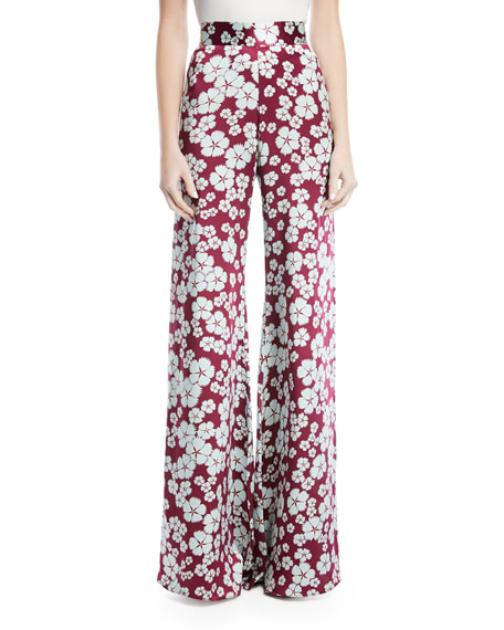 Imprimé Floral Pantalon Taille Haute - Rochas Rose Et Violet Gpm177o