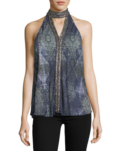In The Wild Sleeveless Printed Halter Top