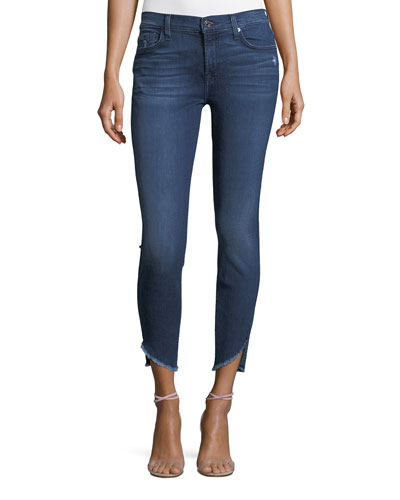 Skinny Ankle Jeans with Raw Angled Hem