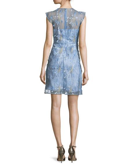 Olive Floral-Appliqué Linen Dress