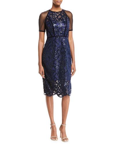 Katia Embellished Sheer Sheath Dress