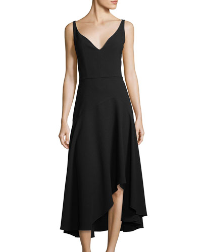 Susie Asymmetric-Hem A-Line Dress