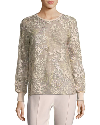 Val Soft Bouquet-Embroidered Top