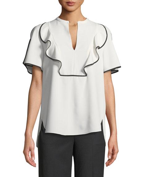Murrelet Ruffle Short-Sleeve Blouse