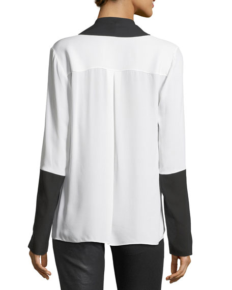 Mavrick Two-Tone Silk Blouse