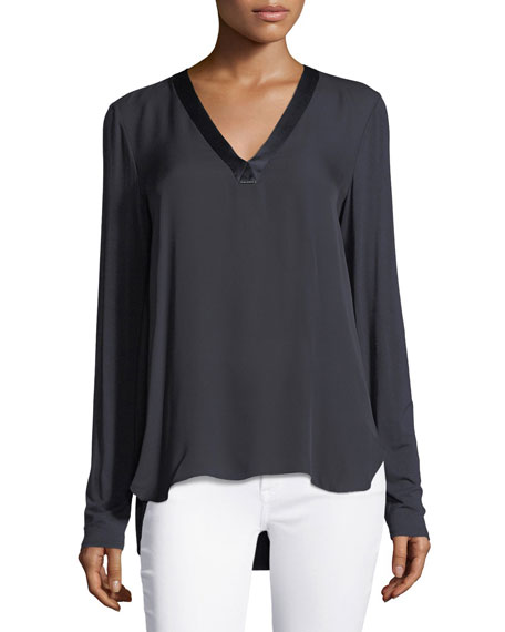 Farah V-Neck Silk Blouse