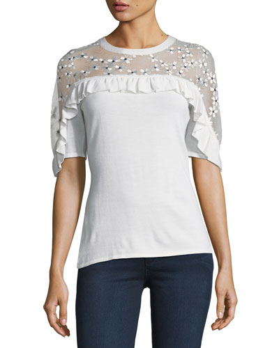 Flora Illusion-Yoke Half-Sleeve Sweater