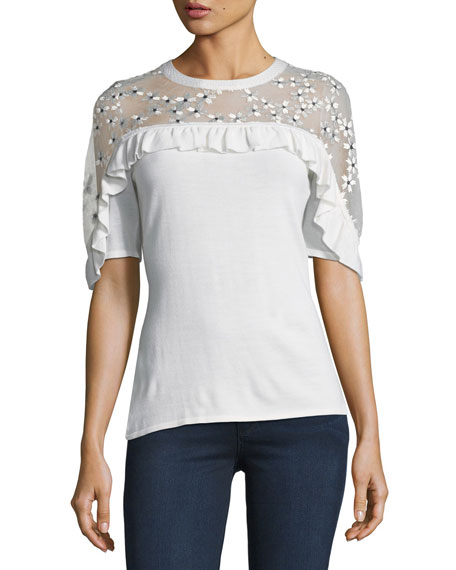 Flora Illusion-Yoke Half-Sleeve Sweater