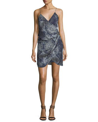 Cassie V-Neck Sleeveless Draped Silk Printed Dress