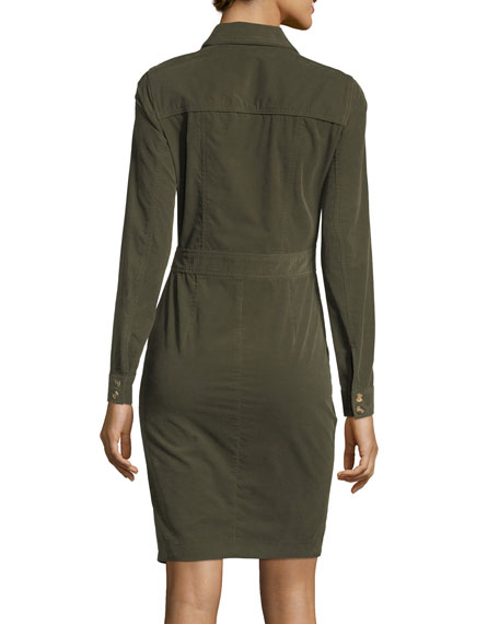 Britton Long-Sleeve Corduroy Shirtdress w/ Button Details
