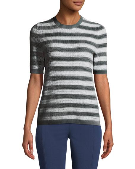 Striped Short-Sleeve Cotton Sweater