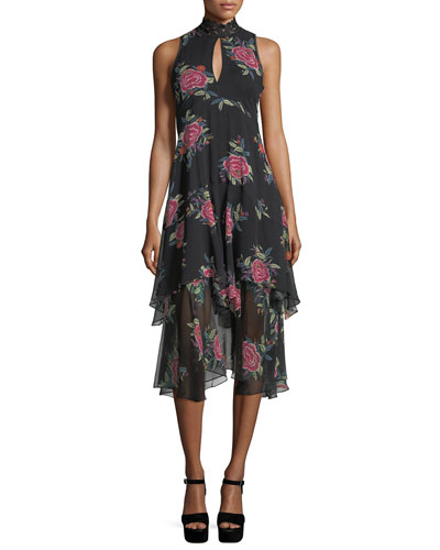 La Rosa Ruffled Silk Keyhole Dress
