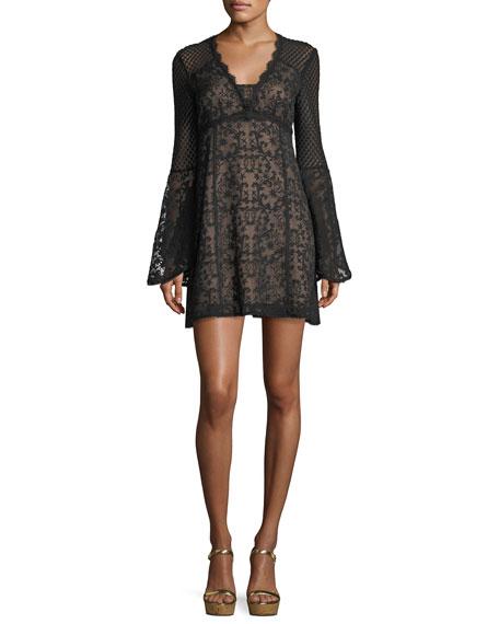 Samba V-Neck Bell-Sleeve Mini Dress