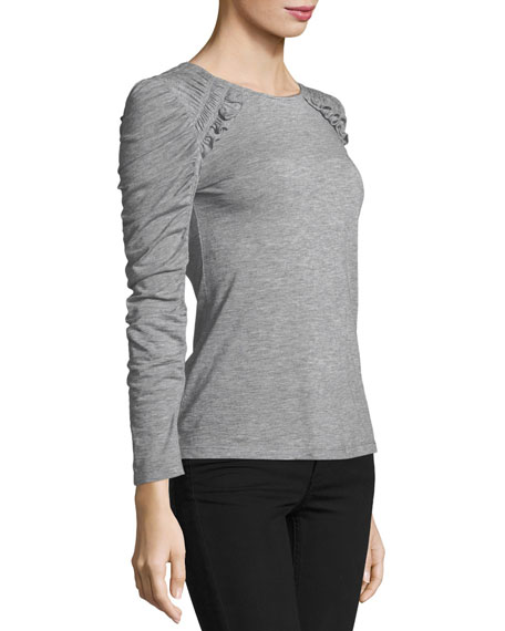 Crewneck Ruched-Sleeves Jersey Tee