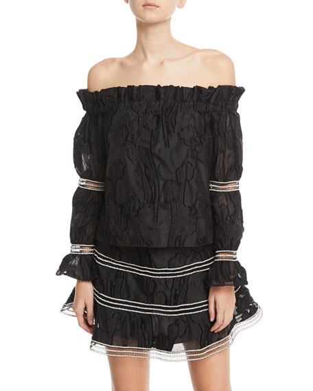 Alexis Raza Off-the-Shoulder Long-Sleeve Embroidered Top