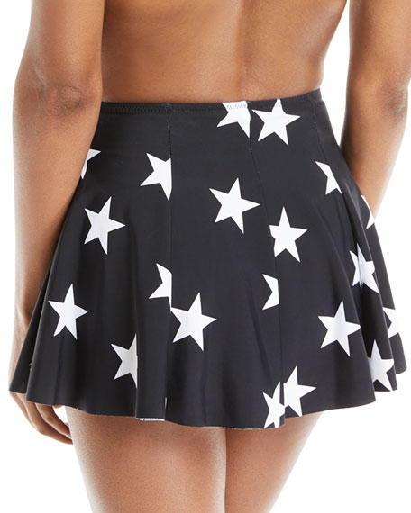 Pleated Star-Print Mini Swim Skirt