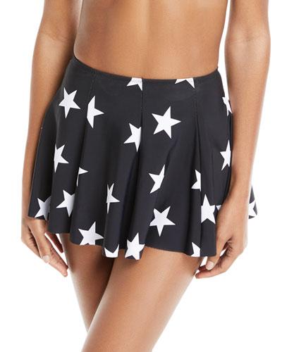 Pleated Star-Print Mini Swim Skirt