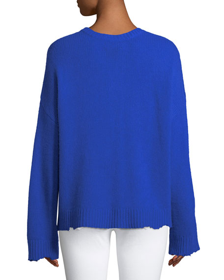 Emmet Crewneck Long-Sleeve Boxy Cashmere Sweater