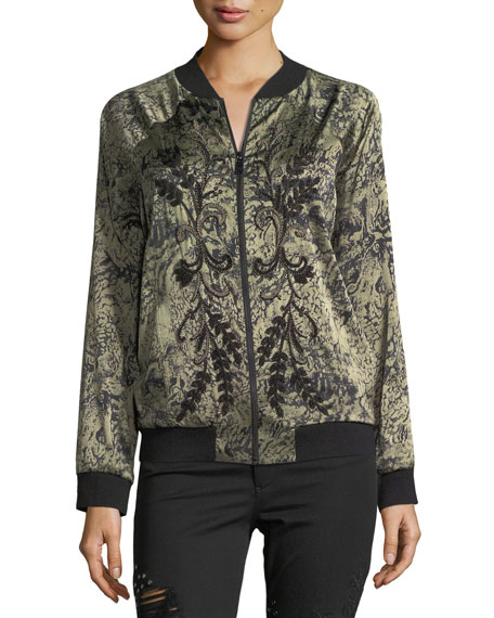 Crystal Ball Zip-Front Bomber Jacket with Beaded Trim