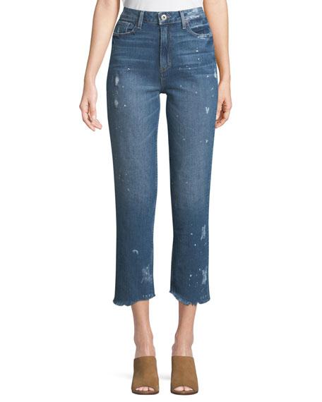 Sarah High-Rise Straight-Leg Crop Jeans with Fray Hem