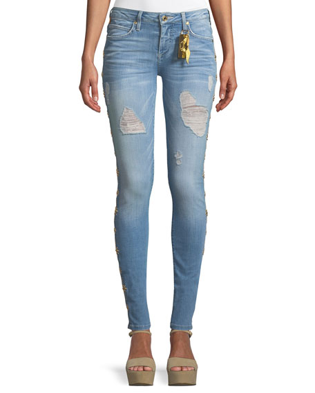 Robin's Jean MARILYN DISTRESSED SKINNY JEANS WITH BEADED EMBELLISHMENTS