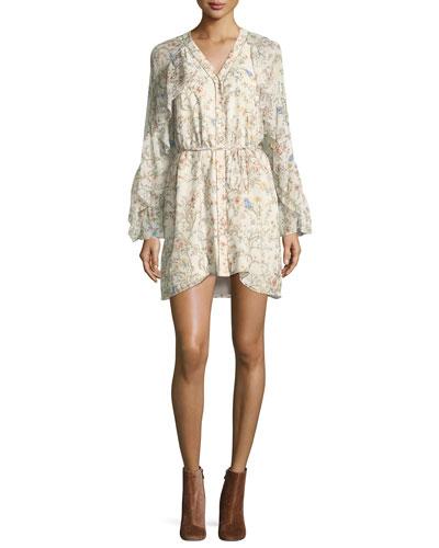 Romani Floral-Print Silk Ruffle Dress