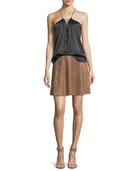 Heat Of The Sun Suede Short Skirt