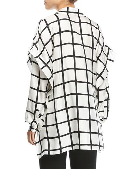 Grid-Print Button-Down Long-Sleeve Silk Shirt