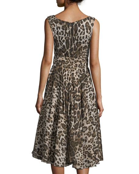 Aster Sleeveless Fit-and-Flare Leopard-Print Dress
