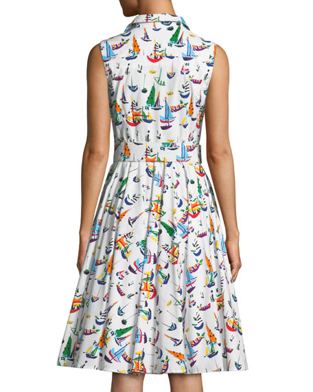 Gigi Sleeveless Sailboat-Print Shirtdress