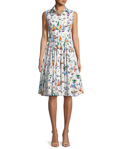 Gigi Sleeveless Sailboat-Print Shirtdress
