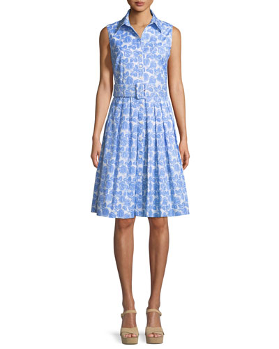 Audrey Sleeveless Floral-Print Shirtdress