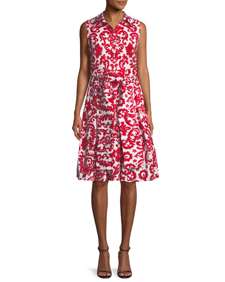 Claire Sleeveless Lace-Print Shirtdress