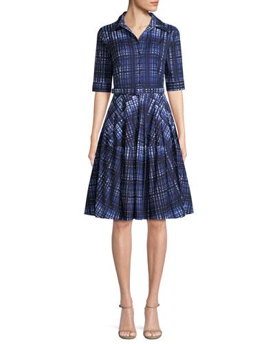 Claire Plaid Half-Sleeve Shirtdress