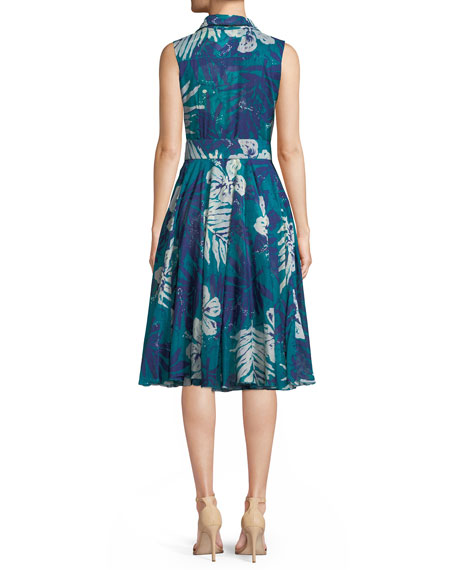 Aster Musola Button-Front Sleeveless Belted Printed Shirtdress