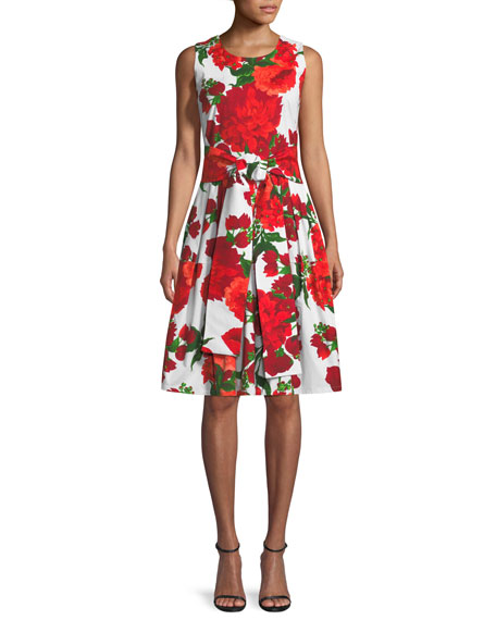 Rachel Sleeveless Geranium-Print Day Dress