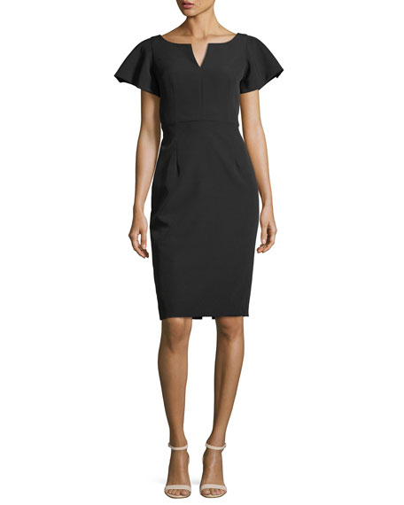 Tina Ruffle-Sleeve Sheath Dress