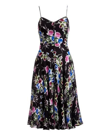 Emily Rose-Print Georgette Dress