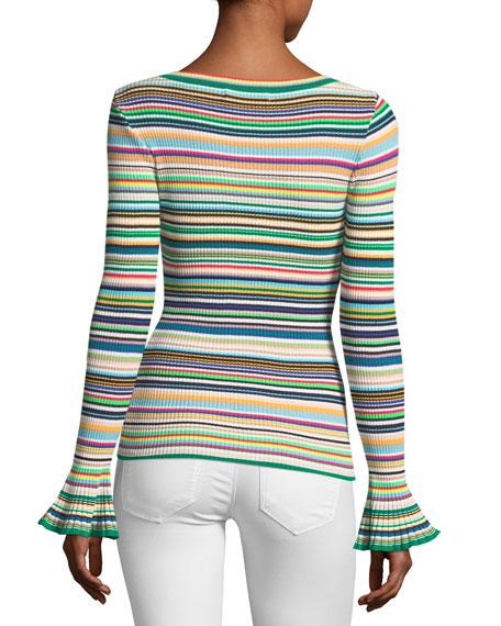 Micro-Striped Flare-Cuff Top