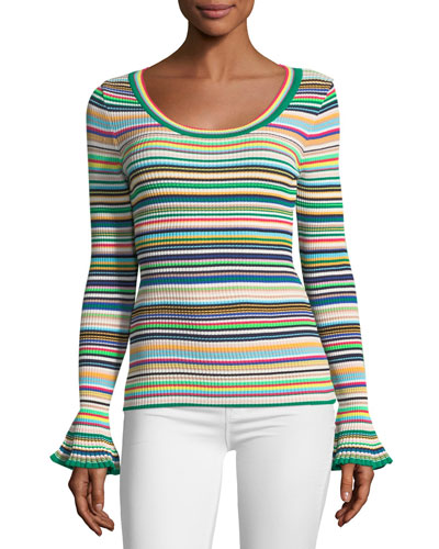 Micro-Striped Flare-Cuff Top