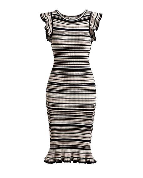 Micro-Striped Mini-Mermaid Dress