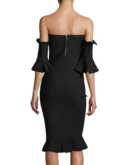 Pintuck Off-the-Shoulder Sheath Dress