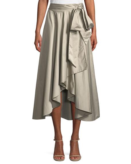 Italian Duchess Taffeta Wrap Skirt, Stone