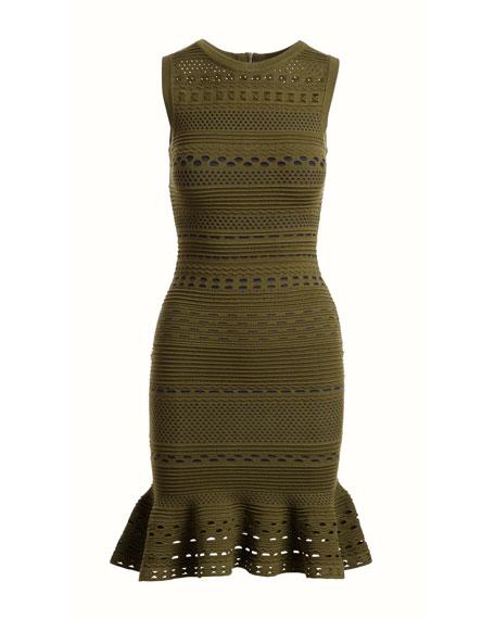 Knit Lace Cutout Mini Mermaid Dress