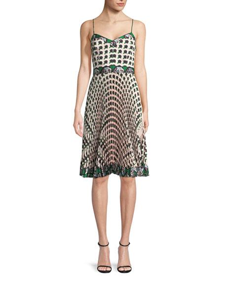 Jill Twill Pleated Dress With Floral-Print, Multi