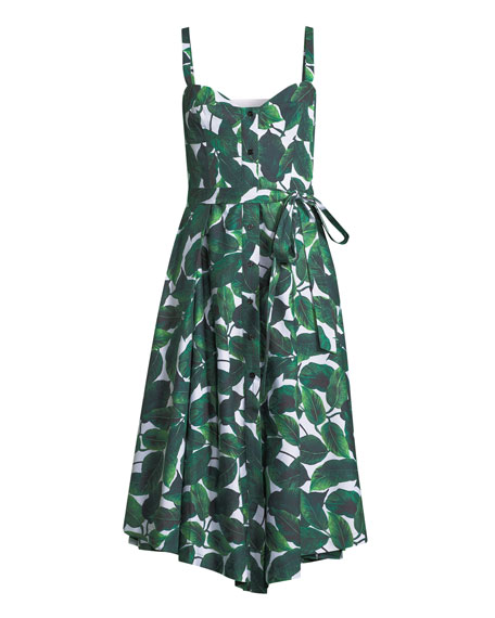 Banana Leaf-Print Poplin Bustier Dress