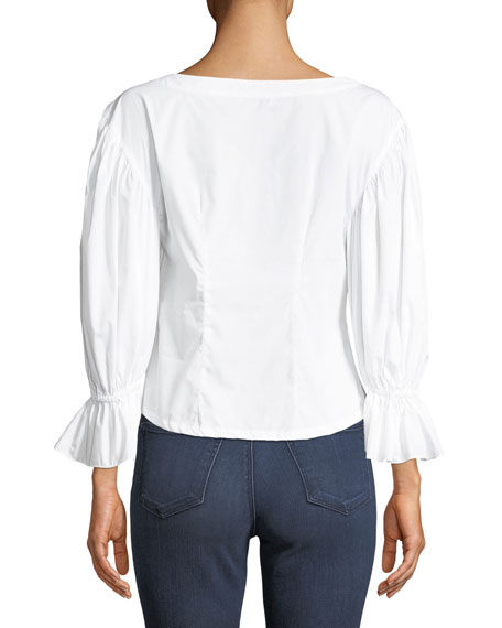 MILLY Cottons NICKIE SHIRTING COTTON TOP