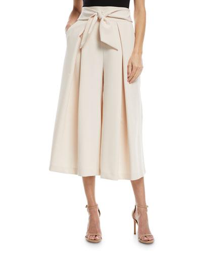 Italian Cady Bow-Detail Culotte Pants