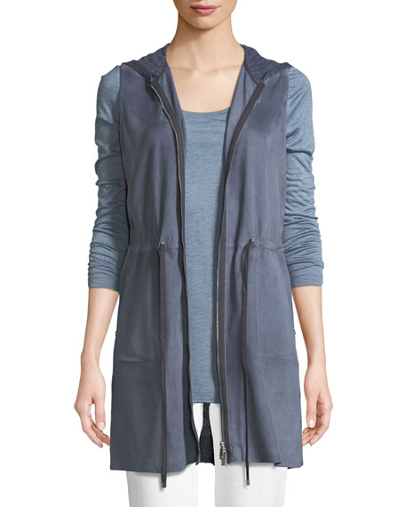Lafayette 148  SALMA LUSH SUEDE VEST WITH KNIT BACK